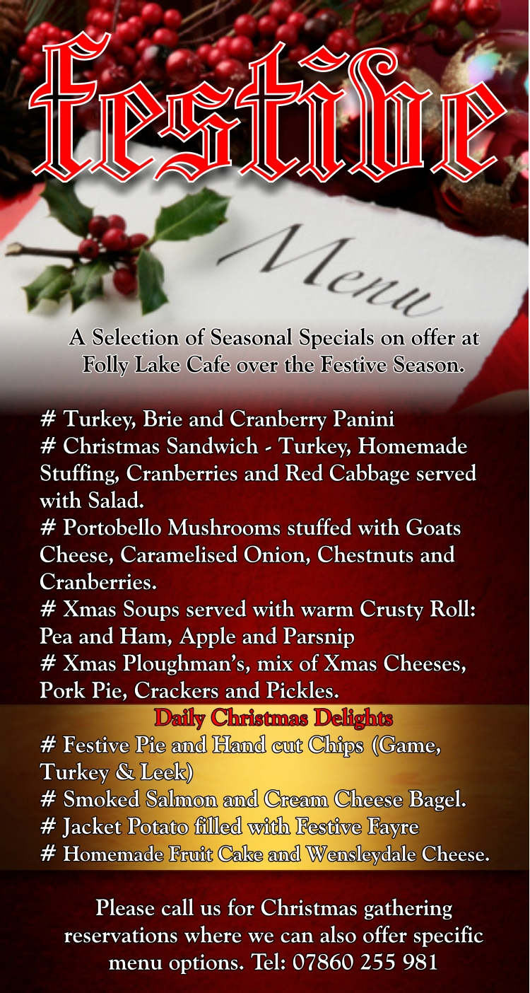 Folly Lake Cafe xmas menu